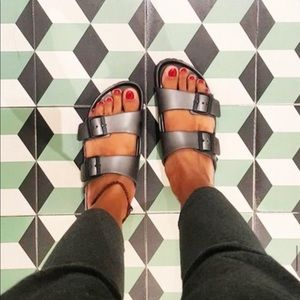 Birkenstbnock Arizona Soft footbed metallic Leath